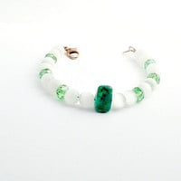 Green Beaded Bracelet, jade bracelet