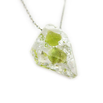 Rough Peridot and Silver Leaf Resin Necklace • Rock Specimen Necklace • Eco Resin Silver Leaf Raw Gemstone Necklace