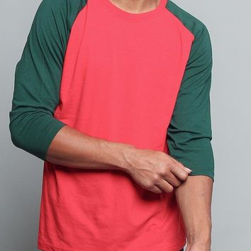 Men's Baseball T-Shirt TS900 (Red/Green) - B12C