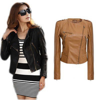 Leather Slim Cropped Outerwear Jacket a12775