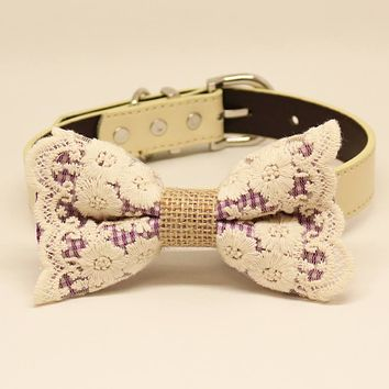 Purple Plaid Dog Bow Tie Collar, Pet Wedding, birthday gift, Lace and Burlap