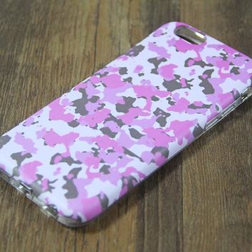 Cute Pink Seamless Camo Protective iPhone 6s Case iPhone 6 plus S7 Edge SE Snap Case 3D 218