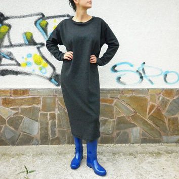 NEW Fall Winter Long Grey Loose Dress / Extravagant Maxi Abaya/Casual Warm Oversize Dress/ Plus size Dress by moShic D011