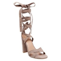 Women's Kayson Block Heel Pumps with Ankle Wrap Mossimo™ - Gray 7.5