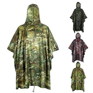 Outdoor Military Travel Camouflage Raincoat Poncho Backpack Rain Cover Waterproof Tent Mat Awning Hunting Camping Hike
