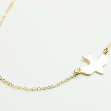 """Frankie"" Gold Tone Bird Charm Necklace"