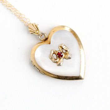 Vintage 10k Yellow Gold Filled Mother of Pearl Heart Locket Necklace- 1940s WWII Era Sweetheart Red Rhinestone Bow Jewelry