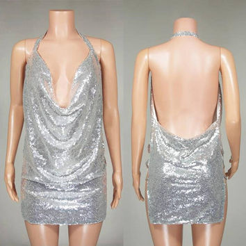 Sexy Silver Gold Sequined Women Summer Short Mini Split Dress Halter Casual Sleeveless Evening Party Club Dresses #230993