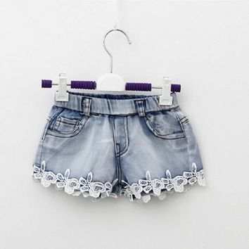 Hot Shorts 2016 Summer Fashion Girls Lace Flower Denim Pocket Short Jeans Pants Baby Casual Trousers Kids  Children's Clothing NewAT_43_3
