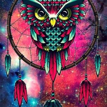 5D Diamond Painting Pink and Green Owl Dream Catcher Kit