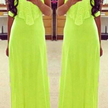 Solid Color Spaghetti Strap Maxi Dress