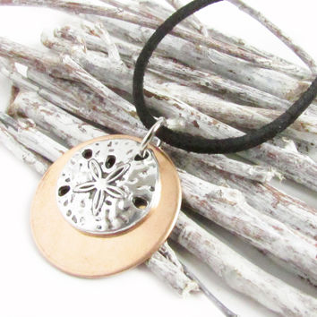 Mixed Metal Necklace with Sand Dollar Pendant
