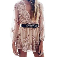 Fashion Trending Women Sequin Long Sleeve V-Neck Romper jumpsuit