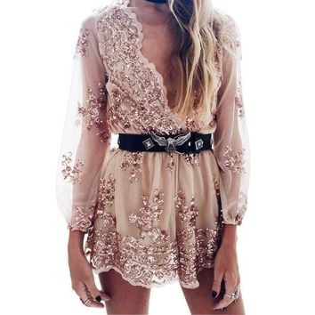 Fashion Trending Women Sequin Long Sleeve V-Neck Romper jumpsuit G