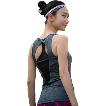 Summer Sexy Hollow Back Women Tank Tops Female Dry Quick Loose Fitness Vest Singlet for Exercise Women's Workout T-Shirts