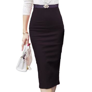 High Waist Bodycon Pencil Skirt