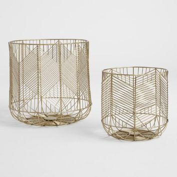 Gold Wire Geometric Reese Baskets