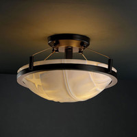 Justice Design Group PNA-9680-35-BANL-DBRZ-LED-2000 Porcelina Ring 14-Inch Two-Light Dark Bronze Round 2000 Lumen LED Semi-Flush Mount With Ring