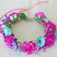 Rose Daisy crown Magenta pink Blue Big Rose headpiece / Flower crown/ Rose headpiece