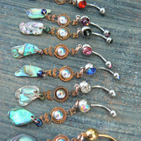 choose 1 abalone belly ring PURPLE amethyst in beach summer moroccan belly dancer indie gypsy hippie morrocan boho and hipster style