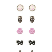 LOVEsick Skull Bow Anchor Rose Earrings 6 Pair
