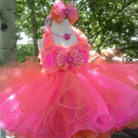 Made-to-Order Glitz Pageant Babydoll, Strawberry-Orange Dreamsicle,