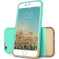 iPhone 6 Case, Maxboost® [Vibrance Series] [Lifetime Warranty] Protective SOFT-Interior Scratch Protection Metallic Finished Base - Robin Egg Blue / Champagne Gold