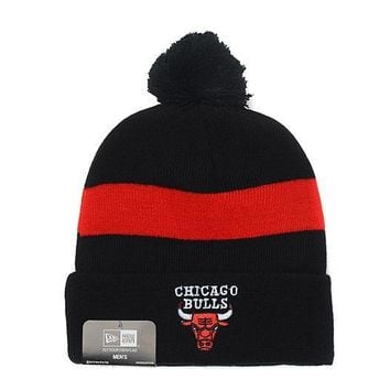 PEAPON Chicago Bulls Beanies New Era NBA Hat Black