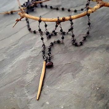 Black Bead Garnet Gold Spike Rosary Necklace