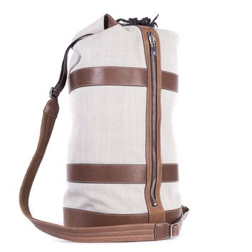 Brunello Cucinelli Men's Canvas and Brown Leather Duffle Bag