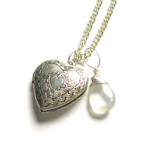 Silver Locket and Moonstone AAA Grade Irish Ireland by writtennerd