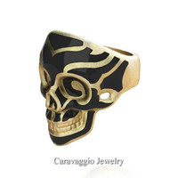 Mens Modern Italian 14K Yellow Gold Black Enamel Skull Ring R635-14KYGSBE