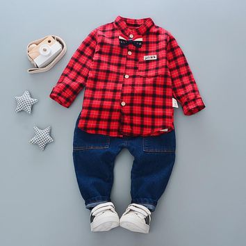 2018 new boys girls clothes set kids loose-fitting cotton plaid shirt+ jeans 2pcs minion kids clothing set For Toddler Boys Clot