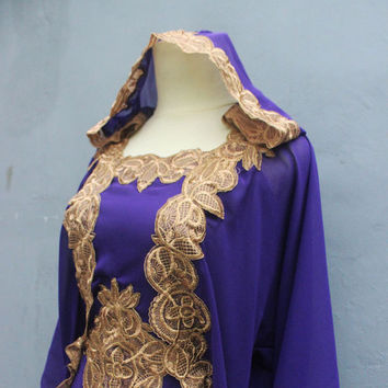 Purple Caftan Dress With Fancy Gold Embroidery Great for Wedding Bridesmaid Party Summer Kaftan Maxi Dress