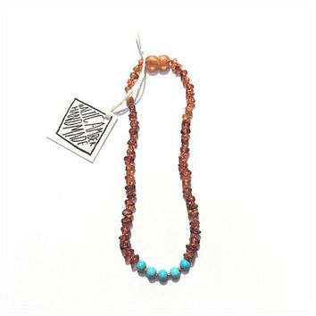 Adult Baltic Amber Necklace + Turquoise