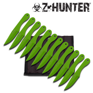 Z-Hunter 12 Piece Green Throwing Knife Set with Sheath
