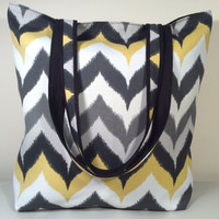 Handmade Chevron Stripe, Zig Zag, Reversible Tote Bag with Pocket - READY TO SHIP - Black, Grey, Yellow