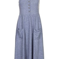 Strappy Button Midi Dress - Blue