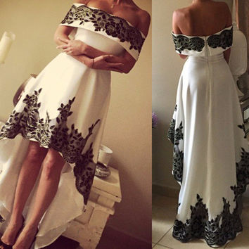 Western Formal Gown Vestidos De Coctel Boat Neck Off Shoulder Appliques Lace Dress Front Short Long Back Robe Cocktail Dresses