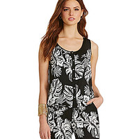 Skies Are Blue Tropical Leaf-Print Tank - Black/White