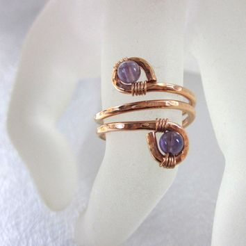 Petite Adjustable Copper Amethyst Wire Wrap Finger And Toe Ring