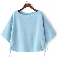Blue Half Sleeve Lace Up Cropped Sweater