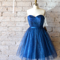 Ready to ship Glitter Blue Sweetheart Tulle New Years Party Dress by Ouma