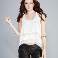 Girly Lace-Trim Tank | Wet Seal