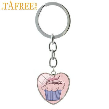 TAFREE Pink Cake Princess Keychain Trendy Cute Key Chain Women Girls Key Chains Ring Birthday Best Friends Gifts Jewelry HP250