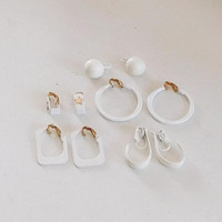 White Clip On Earrings 5 pairs, Assorted Small and Large Some Signed LH Segal California, Hoop Earrings, Flat Cut out, Unique Vintage