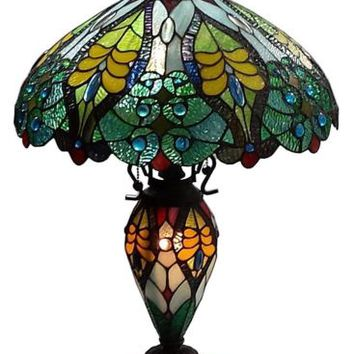 "Tiffany Style 23"" Multi-Color Abstract Stained Glass Double Lit Table Lamp Light"
