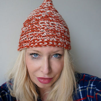 Sailor Knitted Beanie, Hat, Slouchy Cap Women's Knitted Cute Beanie in Rust Pointy top