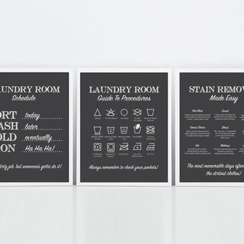 Laundry Room Art Prints Rules Print Symbols Stain Removal