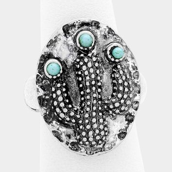 """1"""" silver turquoise cactus boho stretch ring free size"""